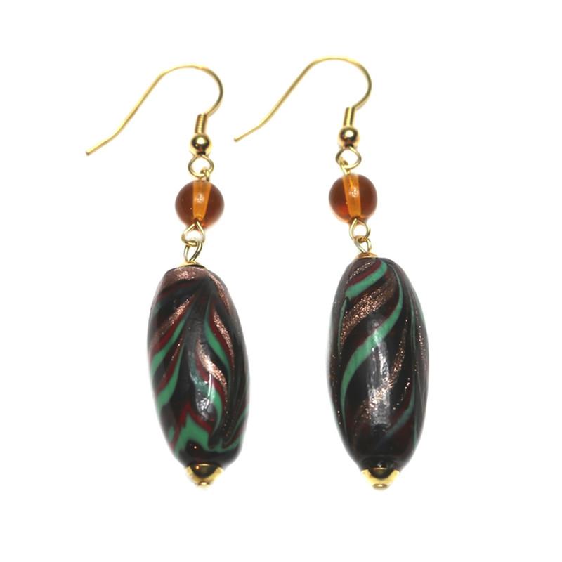 Murano Glass Serena Earrings Amber Avventurina