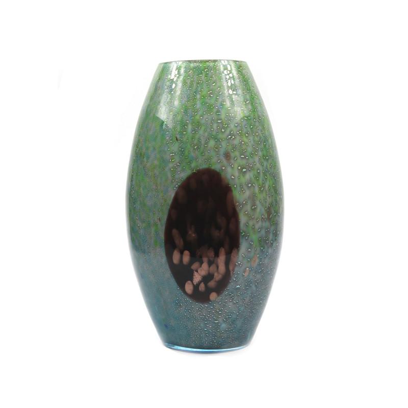 Murano Glass Aurora Vase Turquoise Green Avventurina