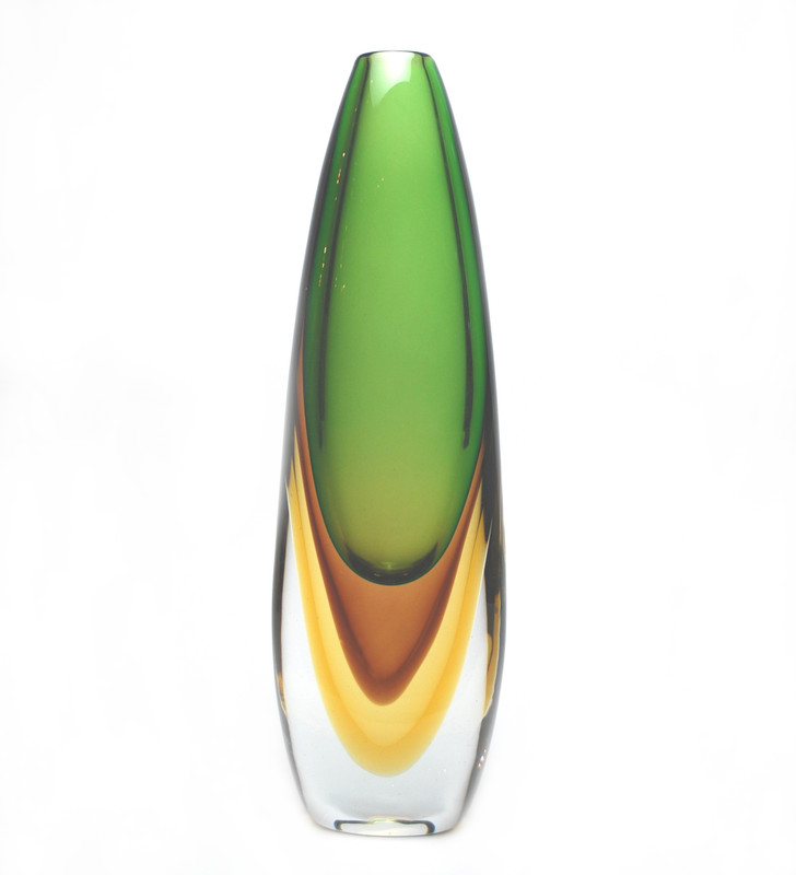 Murano Glass Orion Vase Green Tobacco Amber