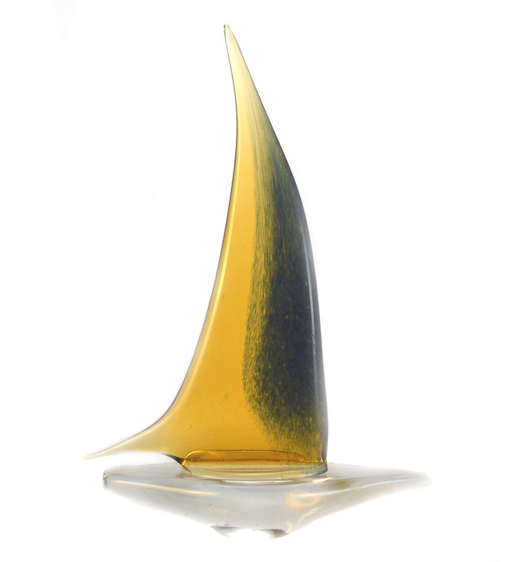 Murano Glass Sailboat Amber Light Blue