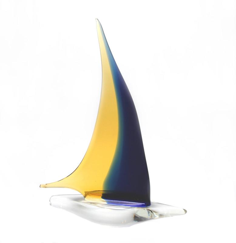 Murano Glass Sailboat Amber Blue