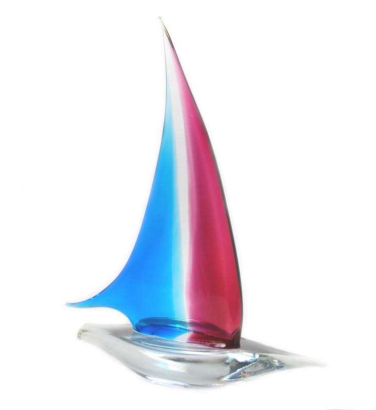 Murano Glass Sailboat Aqua Ruby