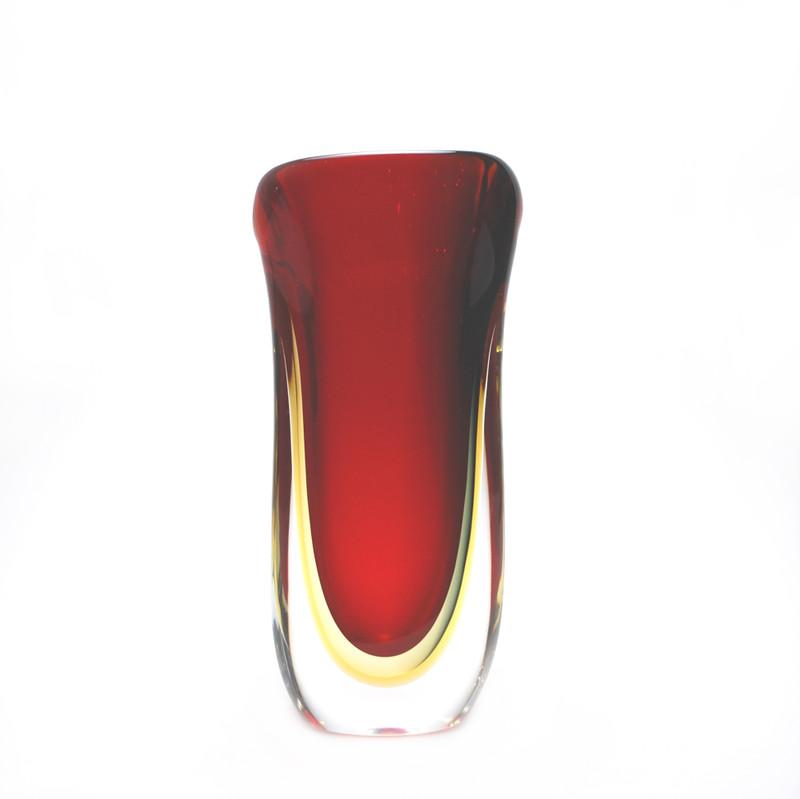 Murano Glass Raffaele Vase Red Smoke Amber
