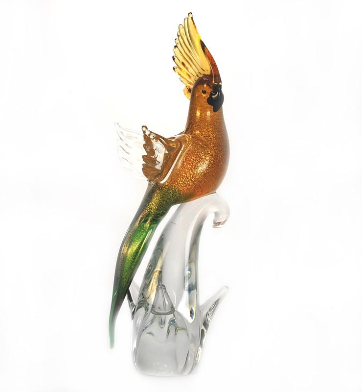 Murano Glass Parrot Green Amber Gold