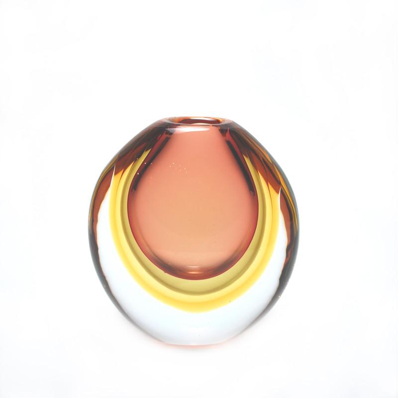 Murano Glass Orion Vase Ruby Tobacco Amber