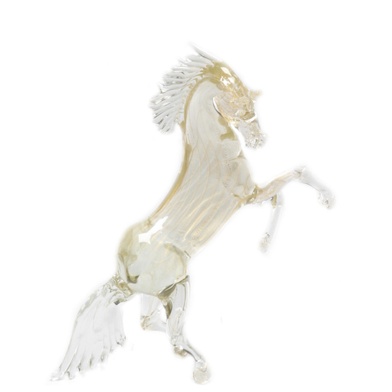 Murano Glass Rearing Horse Gold