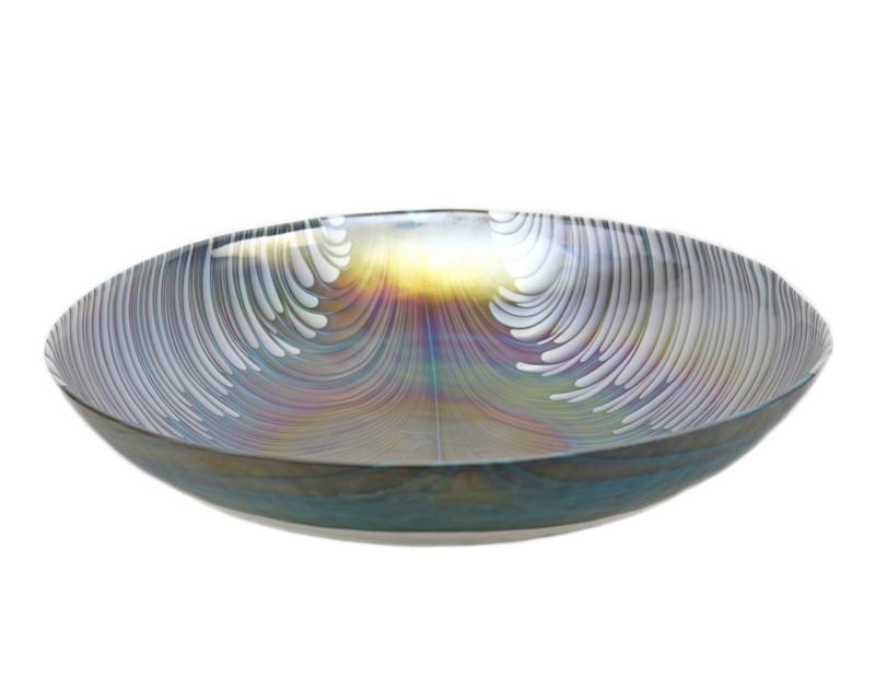 Murano Glass Filigrana Turquoise Round Bowl