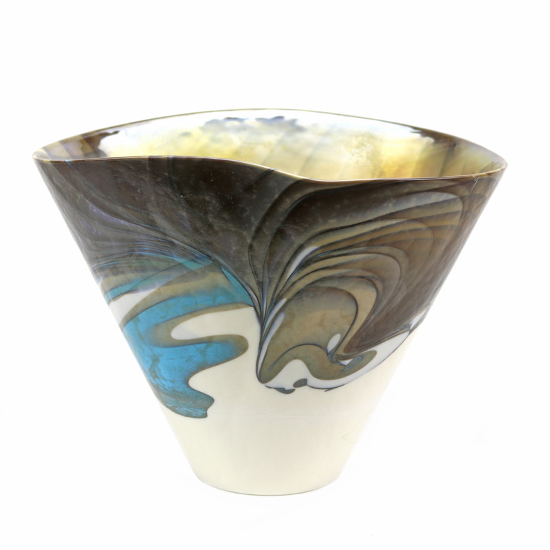 Murano Glass Filigrana Turquoise Vase
