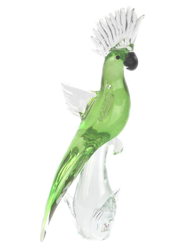 Murano Glass Parrot Green Gold