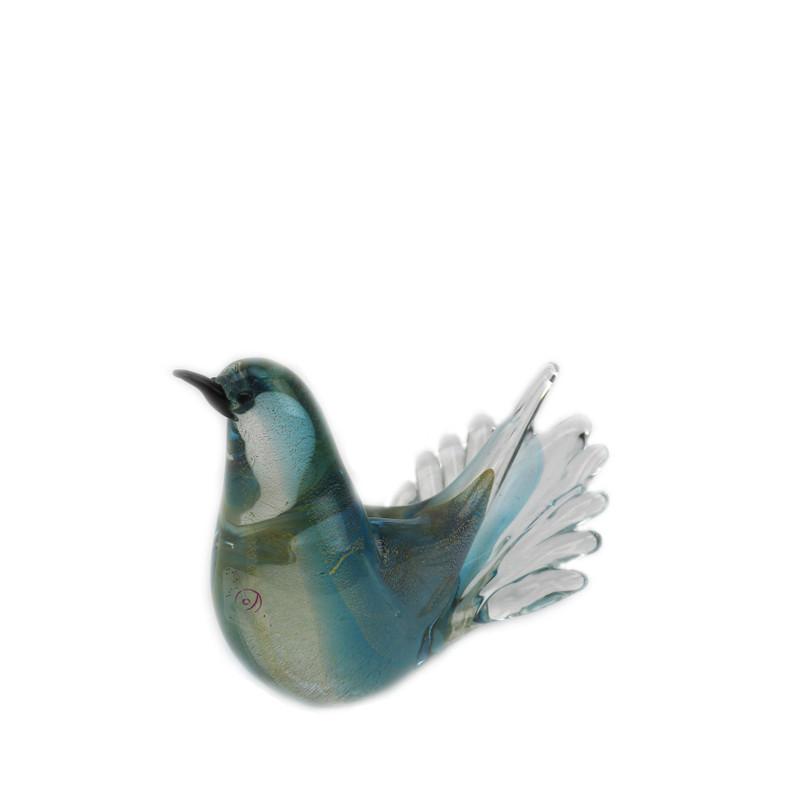 Murano Glass Love Bird Aqua Gold