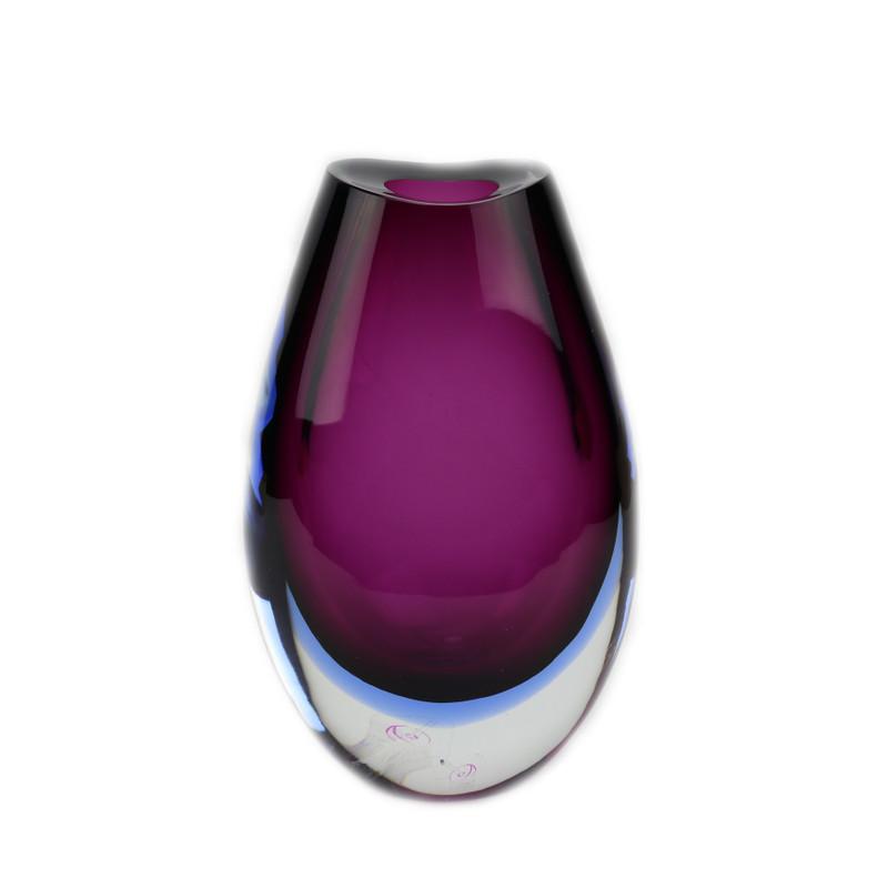 Murano Glass Jove Vase Ruby Bluino