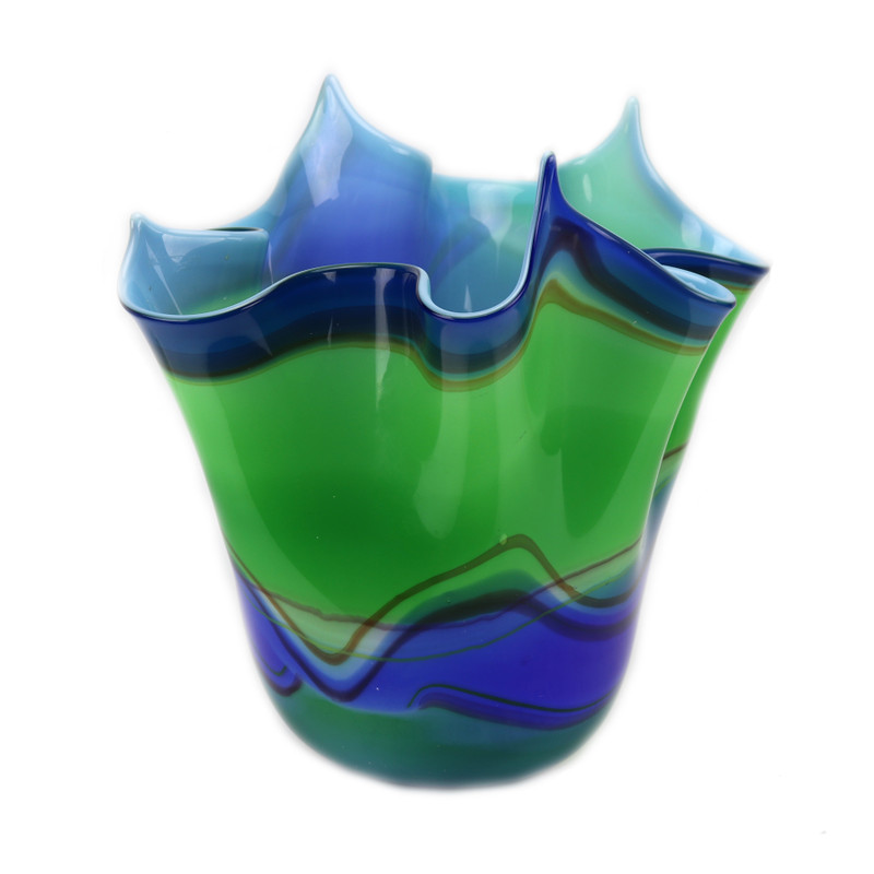 Murano Glass Handkerchief Bowl Blue Green