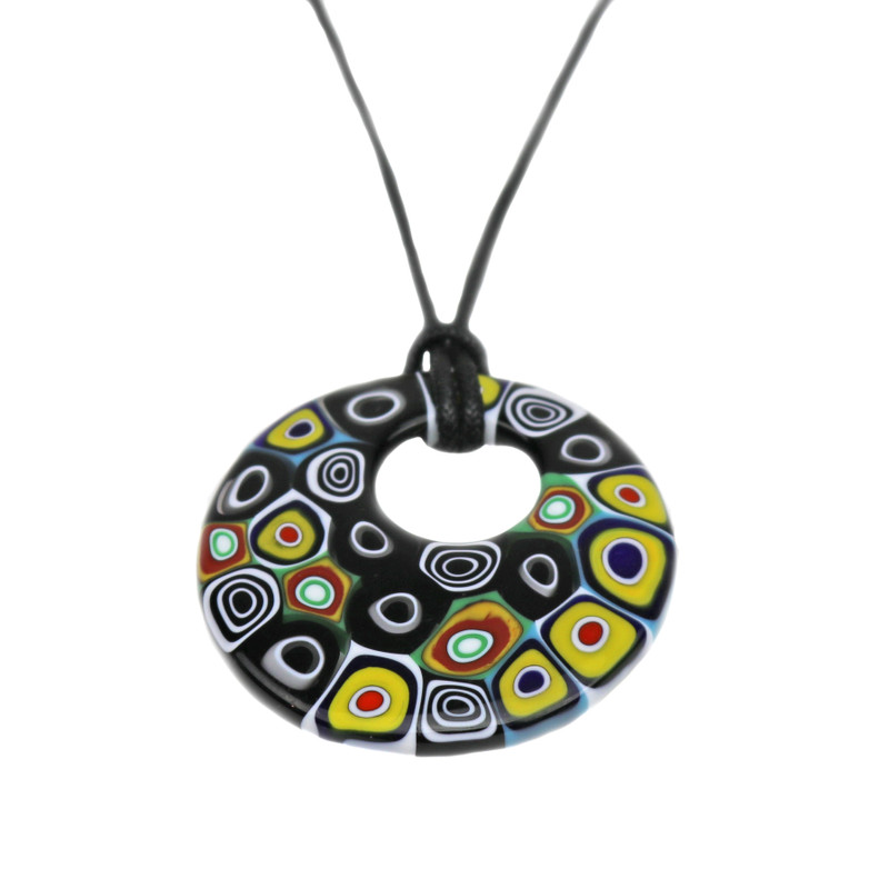 Murano Glass Millefiori Murrine Round Pendant Necklace Black Multicolor
