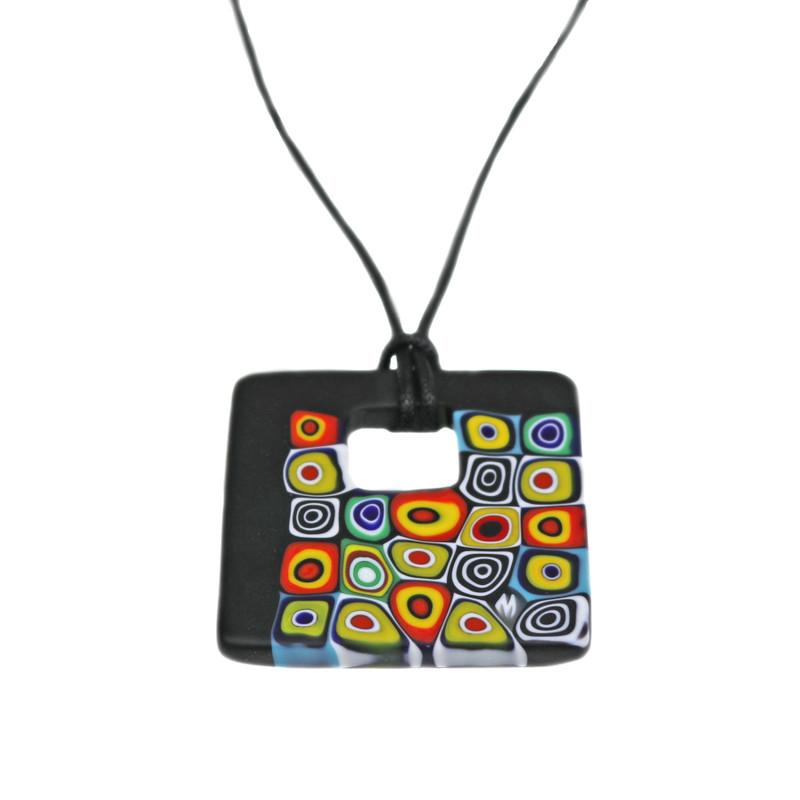 Murano Glass Millefiori Murrine Square Pendant Necklace Black Multicolor