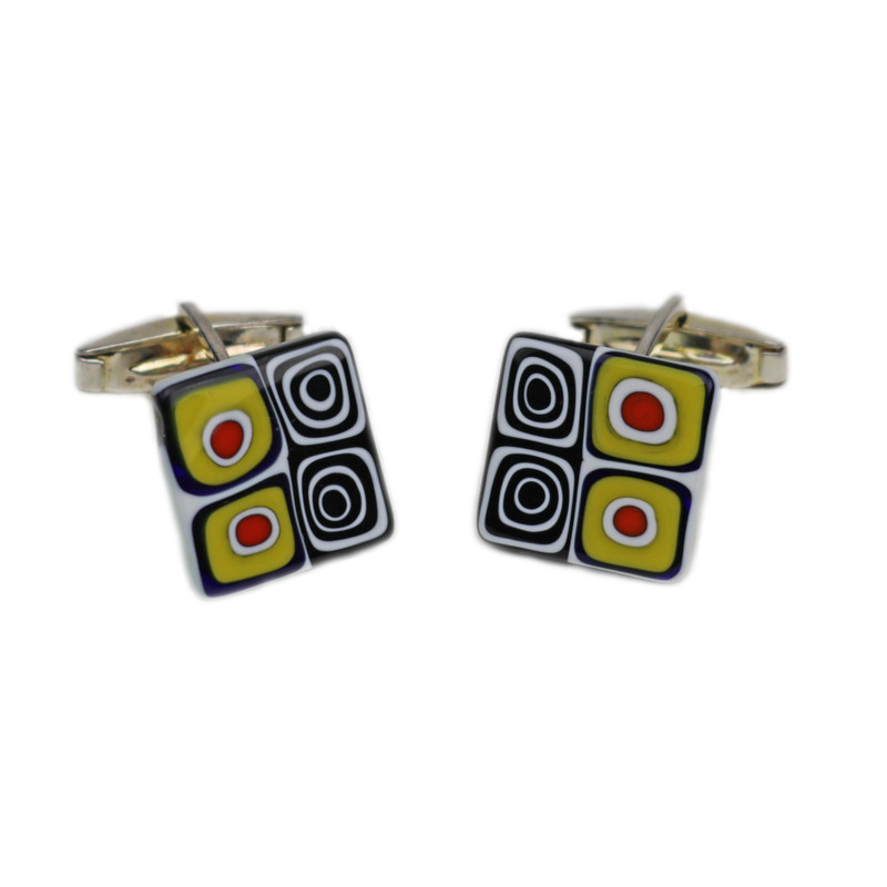 Murano Glass Cuff Links Millefiori Murrine Multicolor