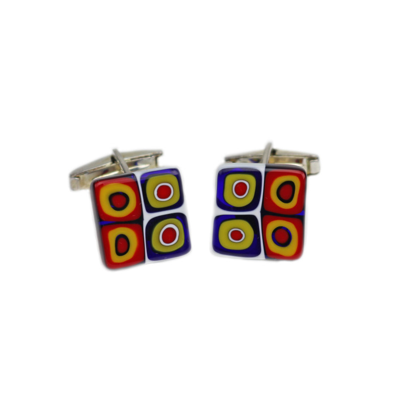 Murano Glass Cuff Links Millefiori Murrine Black Multicolor