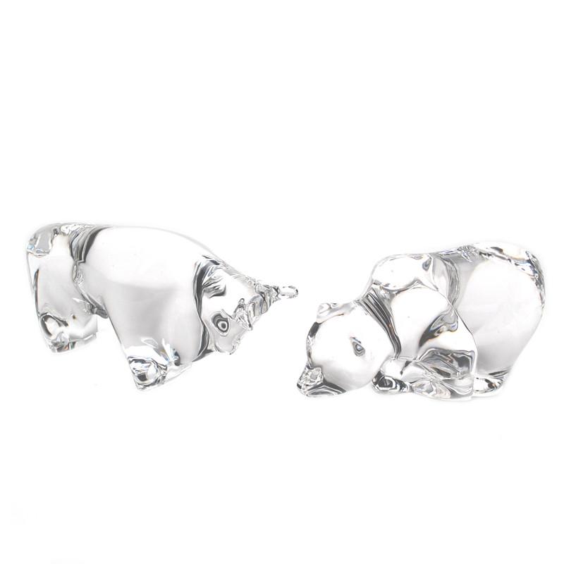 Murano Glass Design Crystal Bull and Bear Pair