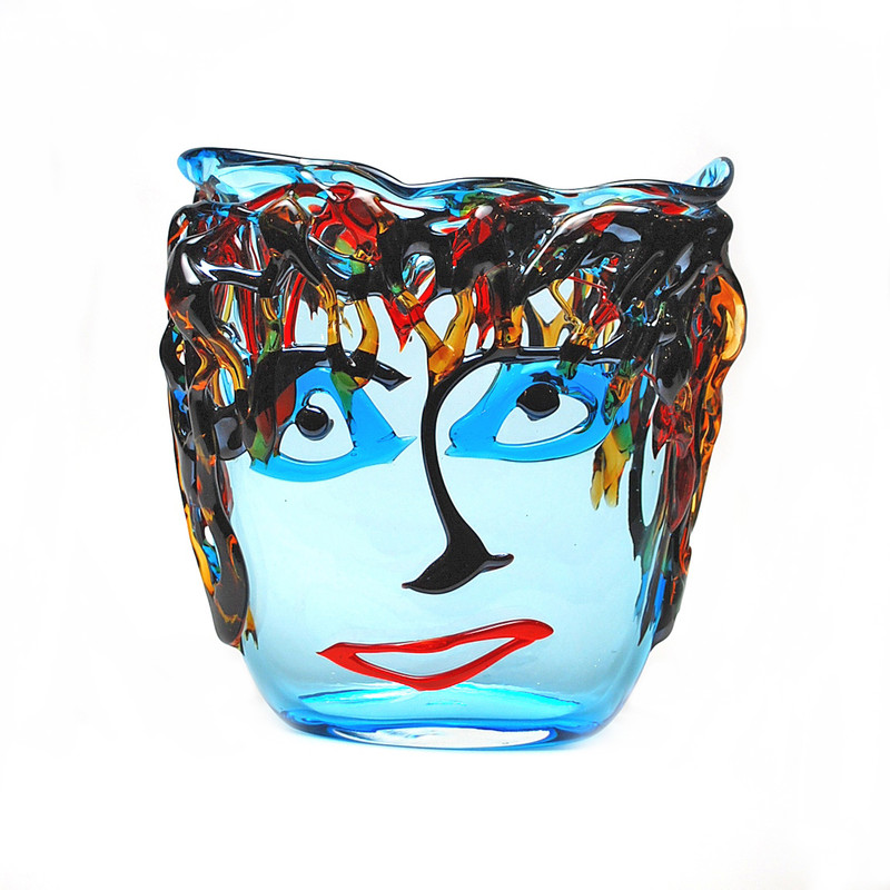 Murano Glass Picasso Oval Vase Aqua