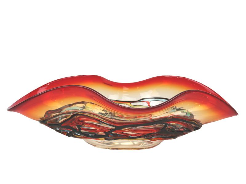 Murano Glass Colorado Oval Centerpiece Bowl Red