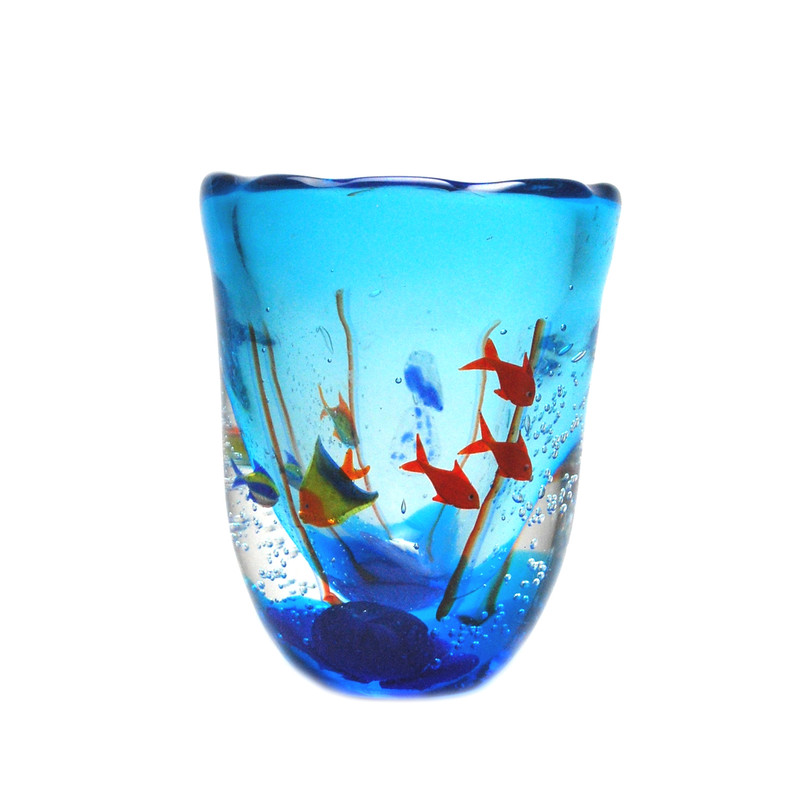 Murano Glass Aquarium Vase with 6 Fish
