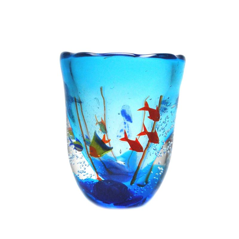 Murano Glass Aquarium Vase with 6 Fish