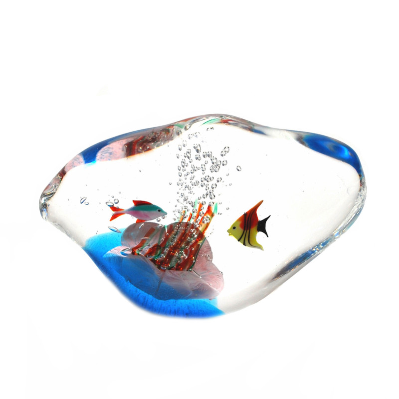 Murano Glass Nuvola Aquarium with 2 Fish