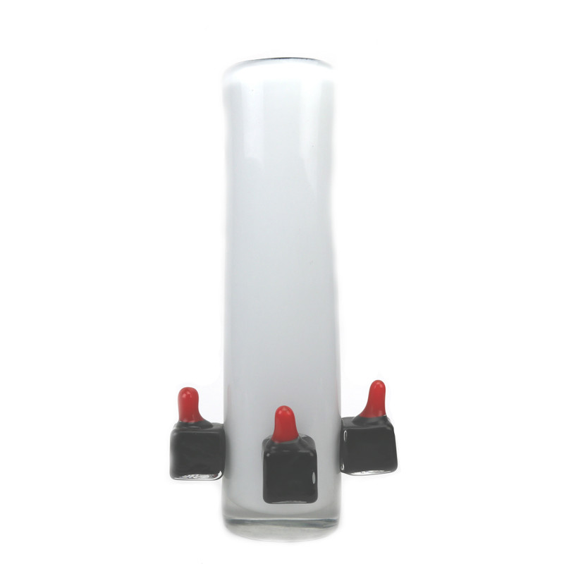 Mercury Vase White Black Red