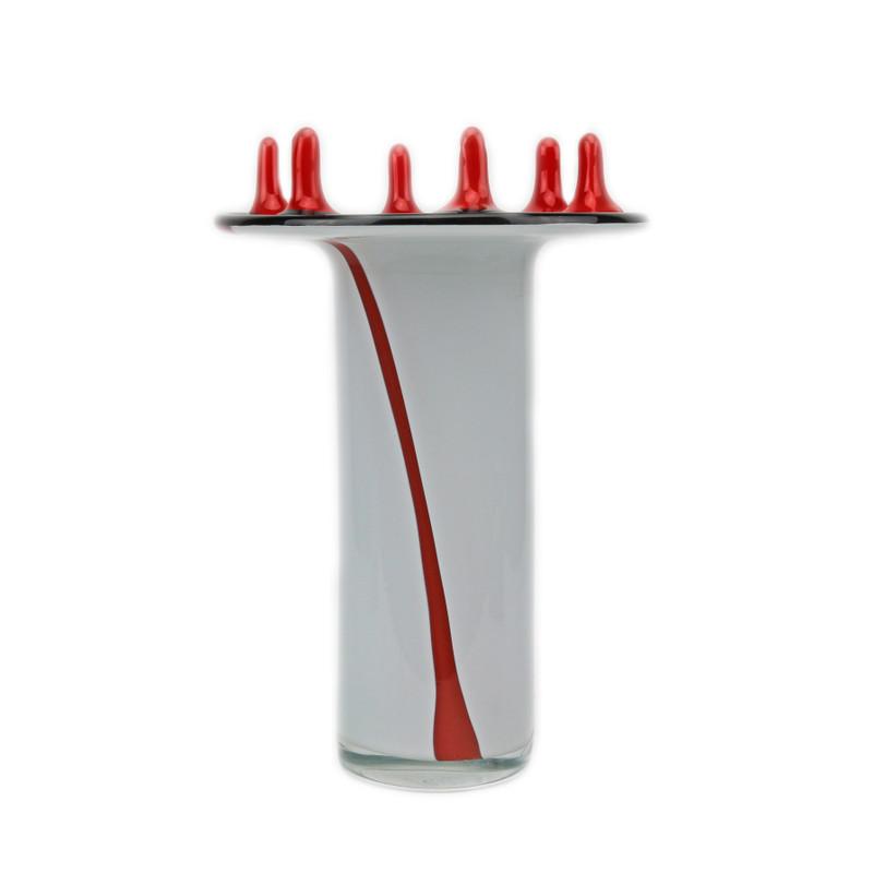 Neptune Vase White Red Black