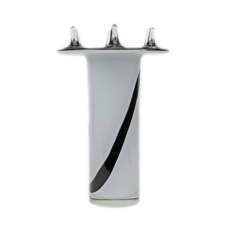 Neptune Vase White Black Clear