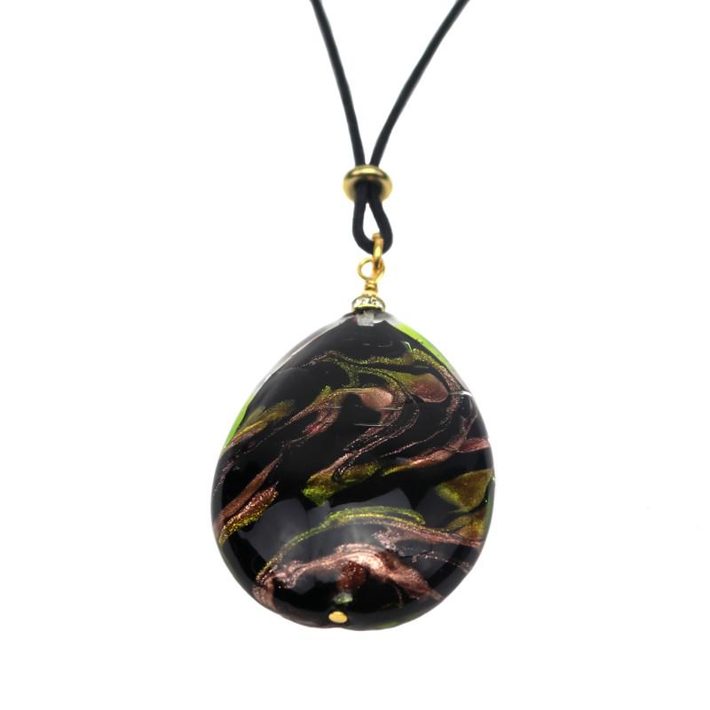 Murano Glass Oval Pendant Green Black
