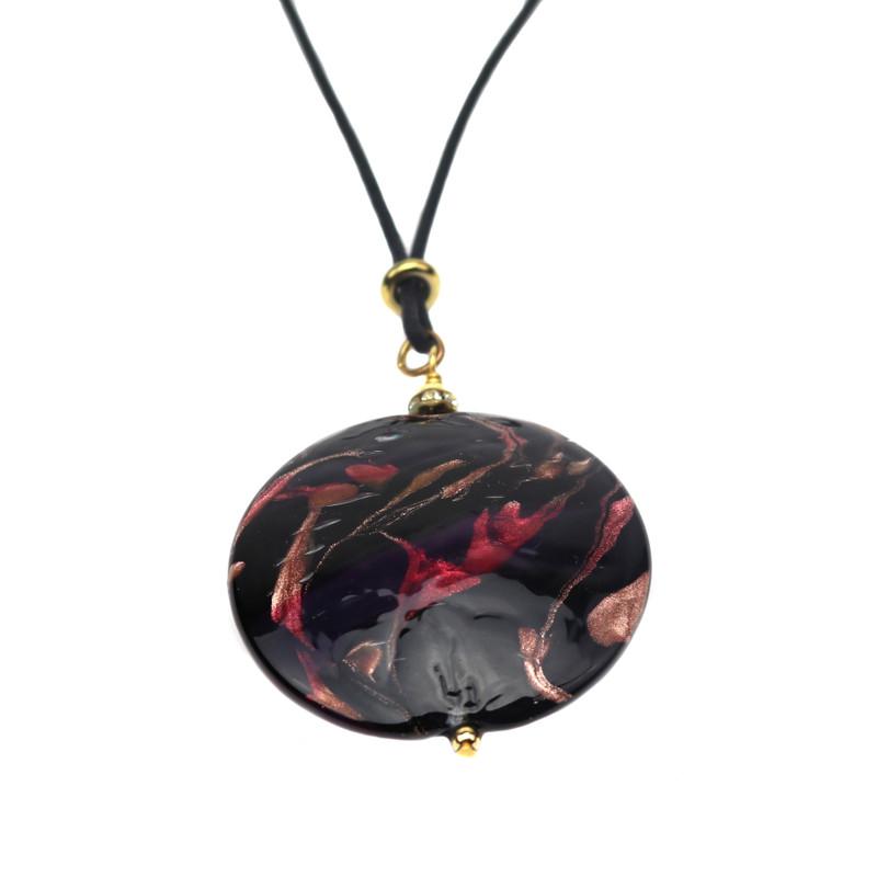 Murano Glass Round Pendant Ruby Black