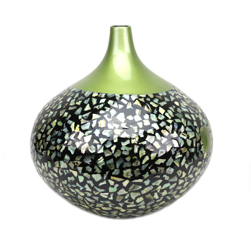 Royal Ceramic Vase Green with Eggshell Inset