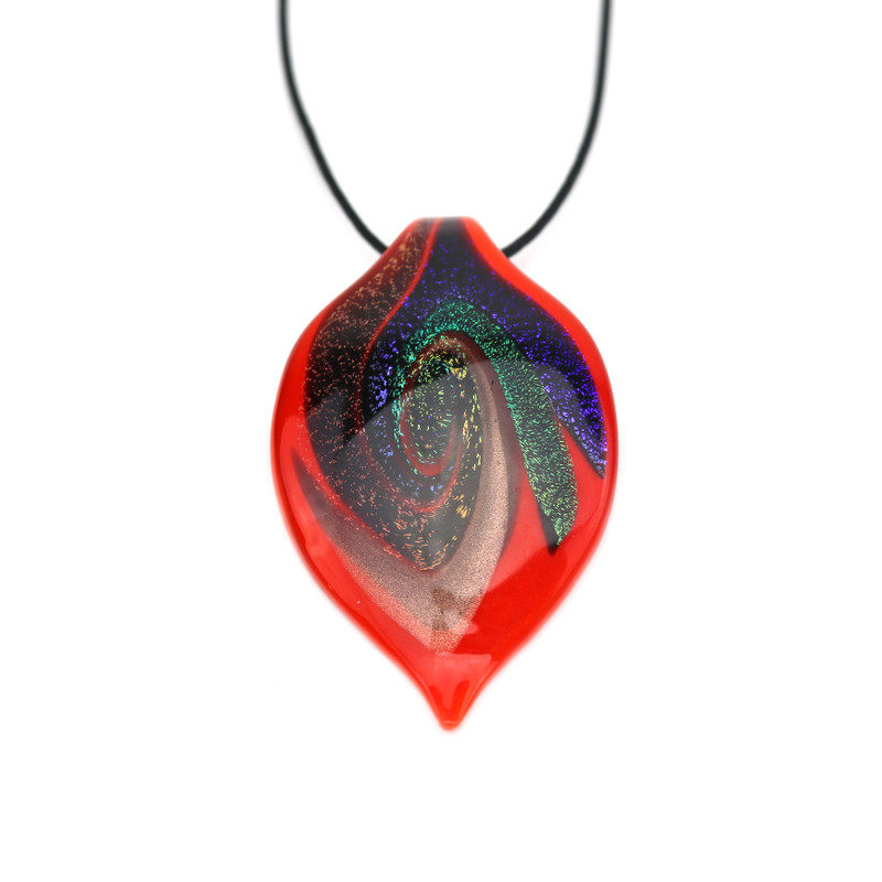 Murano Glass Foglia Pendant Necklace Orange Aventurine