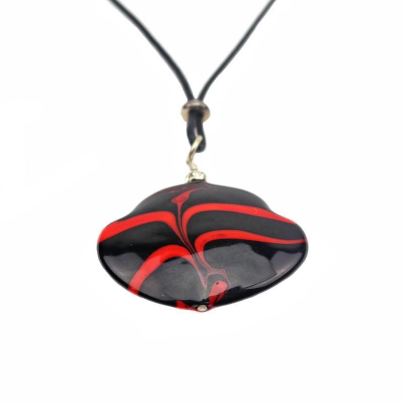 Murano Glass Francesca Pendant Necklace Red Black