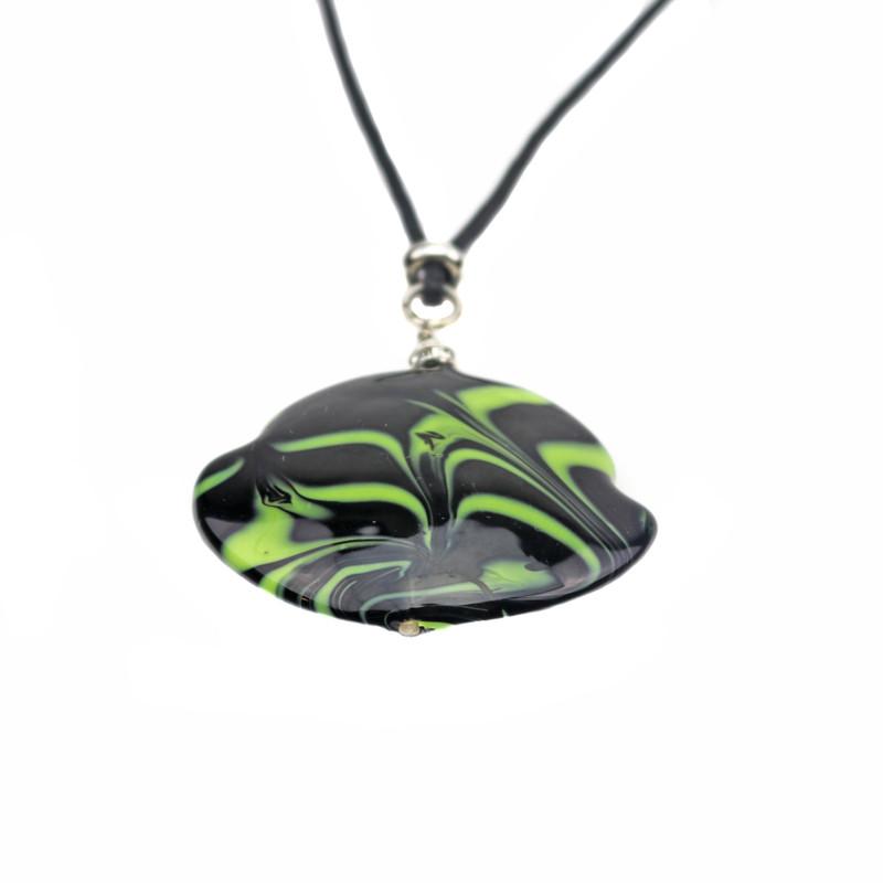 Murano Glass Francesca Pendant Necklace Green Black