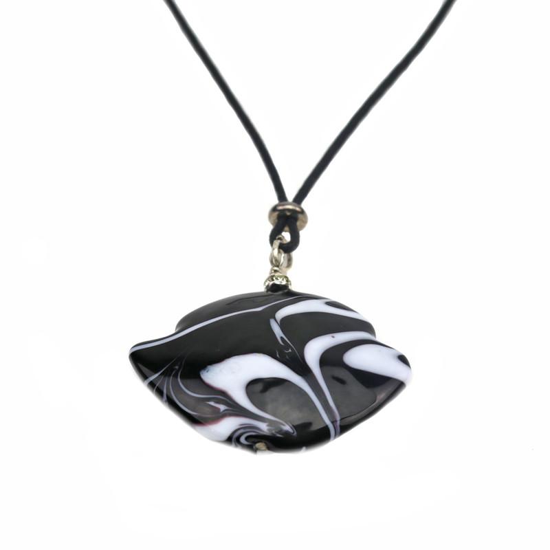Murano Glass Francesca Pendant Necklace White Black