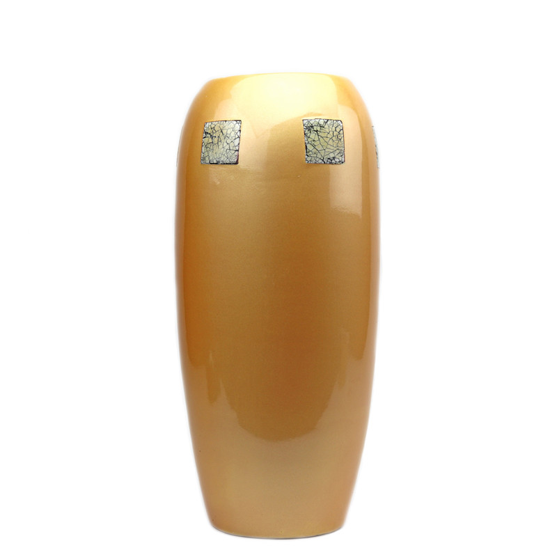 Eclipse Ceramic Vase Yellow w/Eggshell Insets