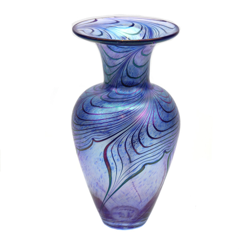 Pulled Feather Art Glass Vase Blue