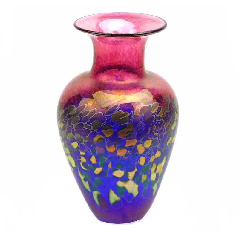Pebble Art Glass Vase Ruby Cobalt Blue