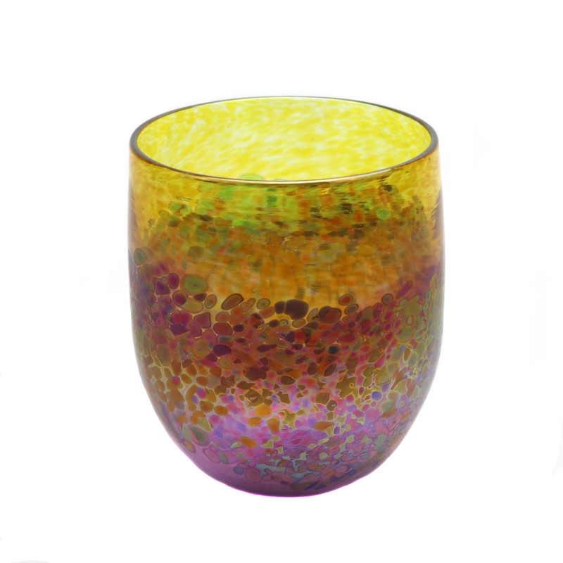 Pebble Art Glass Bowl Amber Violet