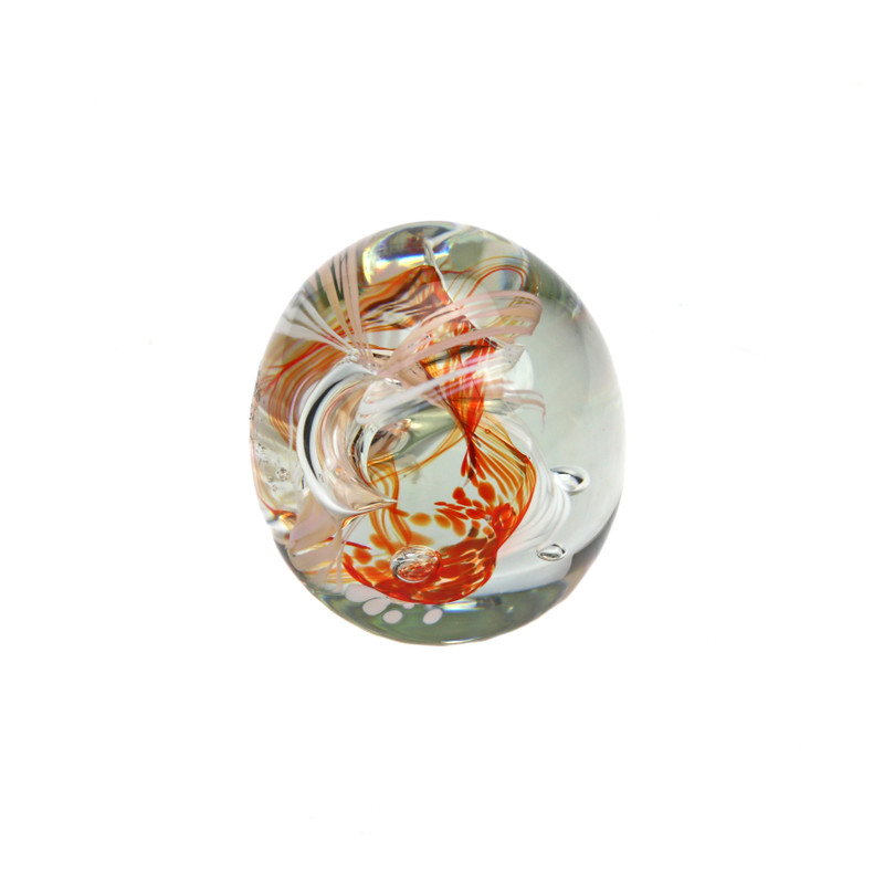 Ribbons Paperweight Clear Orange White