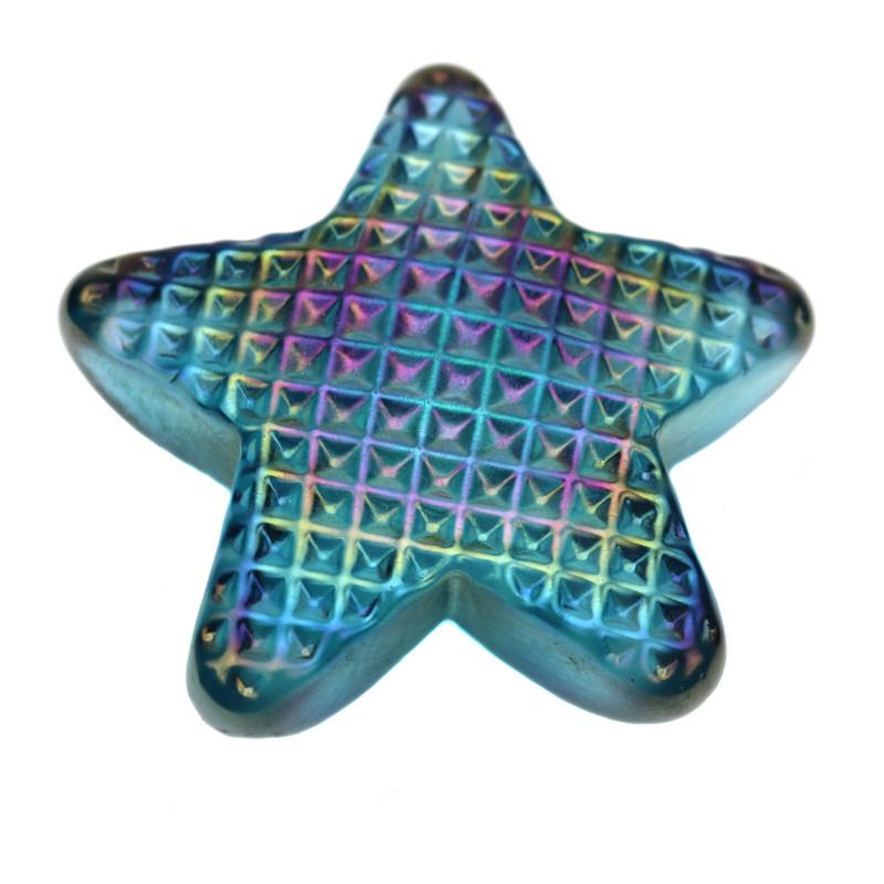 Star Paperweight Iridescent Aqua Blue