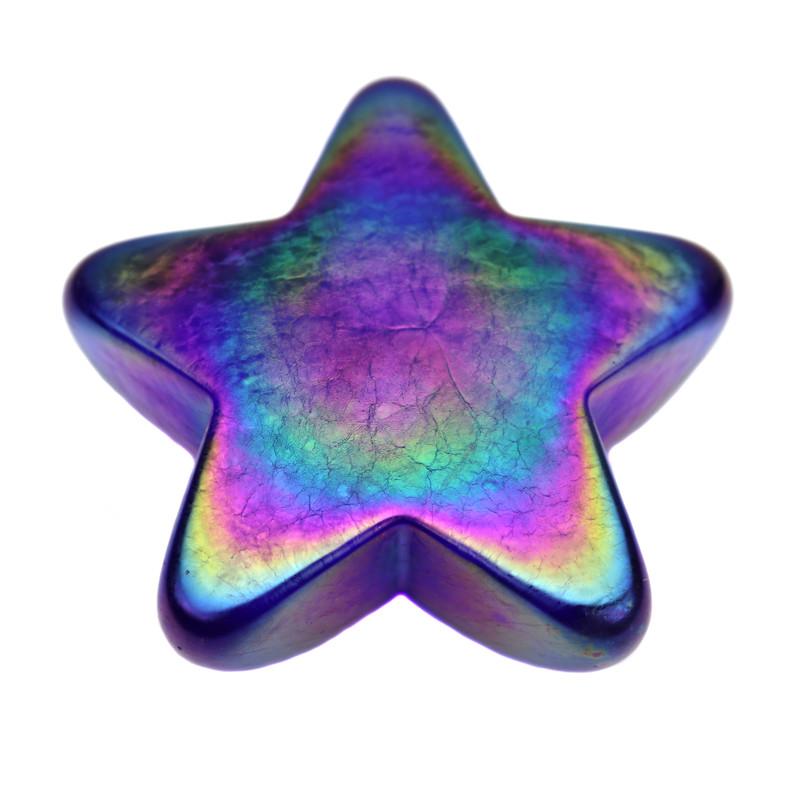 Star Paperweight Iridescent Cobalt Blue