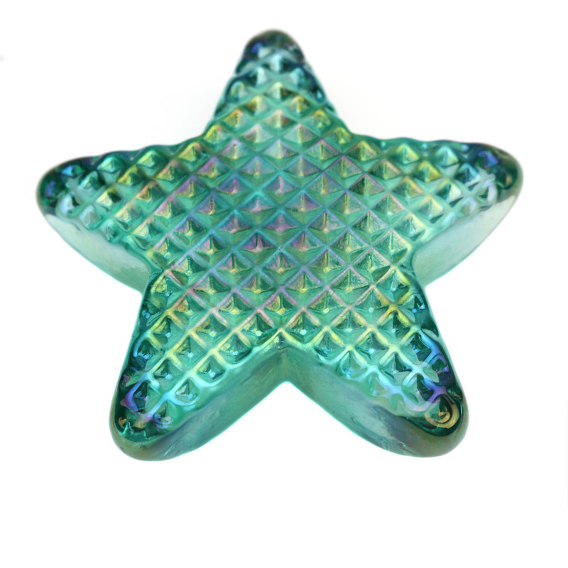 Star Paperweight Iridescent Teal Green