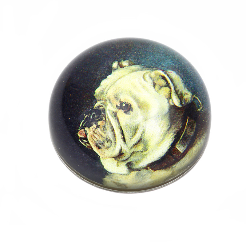 Bull Dog Crystal Dome Paperweight