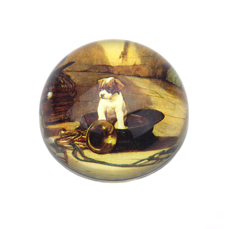 Puppy in Hat Crystal Dome Paperweight
