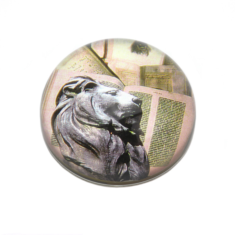Lion Crystal Dome Paperweight