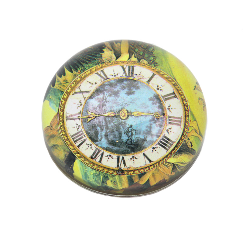 Antique Blue Floral Clock Crystal Dome Paperweight