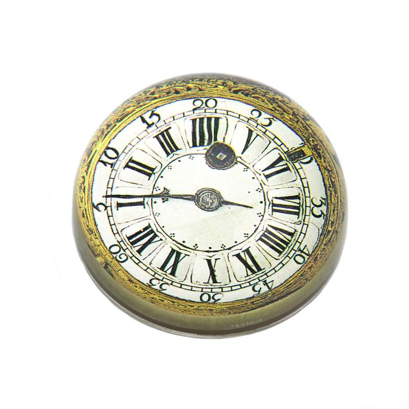Gold Clock Crystal Dome Paperweight