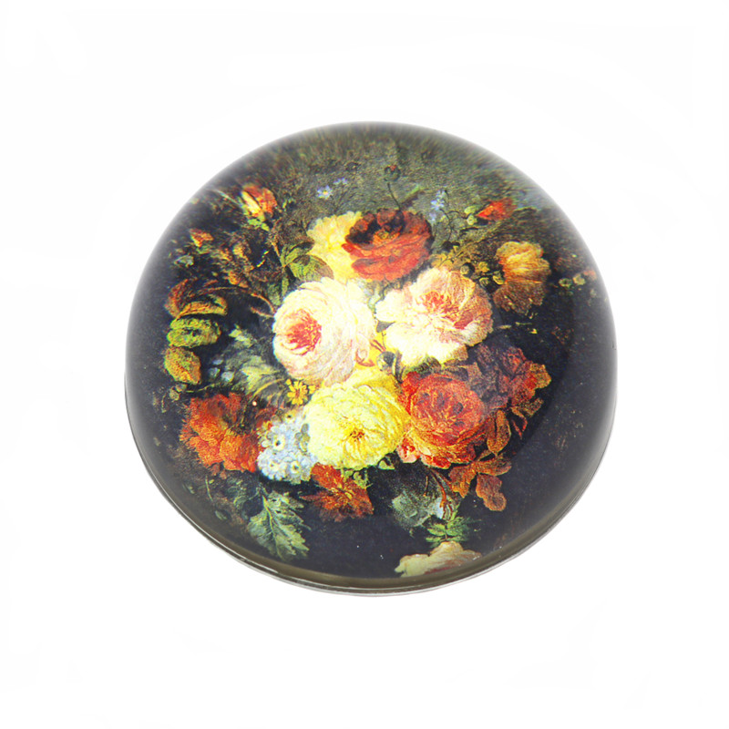 Old Master Floral Crystal Dome Paperweight
